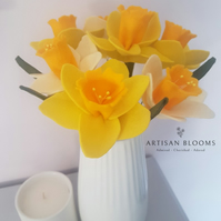 Lovely Daffodils Artisan Blooms Felt Flower Arrangement  - 100% Merino Wool Felt