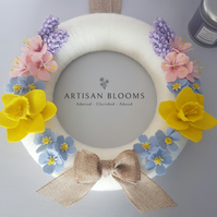 Spring Flowers Artisan Blooms Felt Flower Wreath - 100% Merino Wool Felt