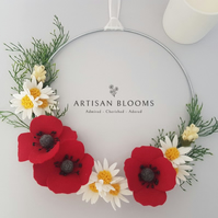 Poppy and Daisy modern Artisan Blooms Felt Flower Wreath - 100% Merino Wool