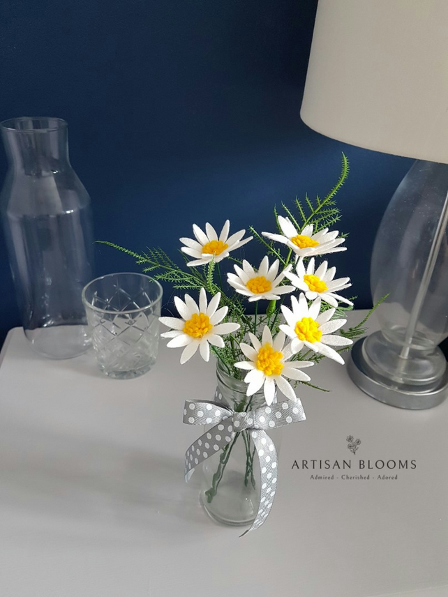 Simple Artisan Blooms Felt Flower Arrangement  - 100% Merino Wool Felt