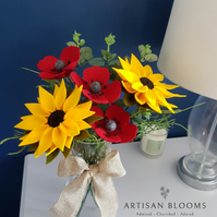 Large Sunflower Artisan Blooms Felt Flower Arrangement  - 100% Merino Wool Felt