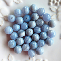 Blue Lace Agate 12mm Round Beads
