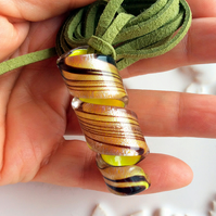 Lampwork Glass Citrus Yellow Twist Pendants 5 Pieces
