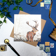 British Stag Blank Christmas Card