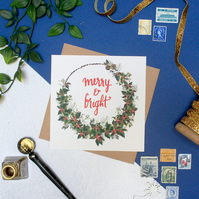 Merry and Bright Blank Christmas Card