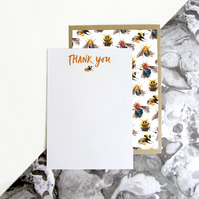 Bumble Bee Pattern A6 Set Of 5 Notecards With Envelopes