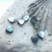 Mother of pearl heart waterfall sterling silver earrings