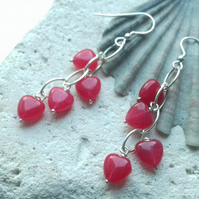 Red Quartzite Heart Waterfall Earrings