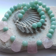 Rose Quartz Slab and Amazonite Art Deco Necklace