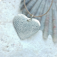 Heart Pendant with Hand Engraved Chrysanthemum Design