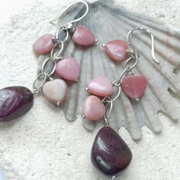Ruby and Pink Opal Heart Waterfall Earrings