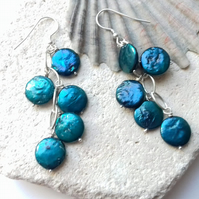Blue Freshwater Coin Pearl Statement Earrings
