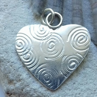 Heart Pendant with Spiral Pattern