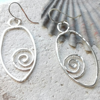 Hand Forged Textured Spiral Earrings