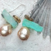 Chrysoprase, Topaz and Freshwater Pearl Earrings