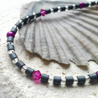 Hematite, Glass Bead and Swarovski Crystal Necklace