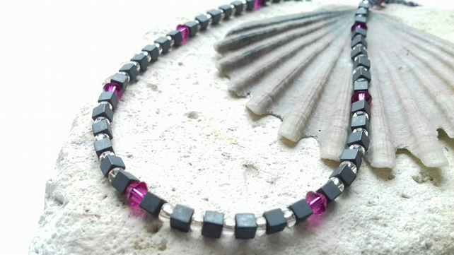 Hematite and Glass Bead Necklace