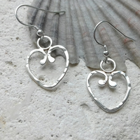 Textured Heart Hook Earrings