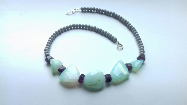 Opal, Ruby and Glass Bead Necklace with Sterling Silver Clasp