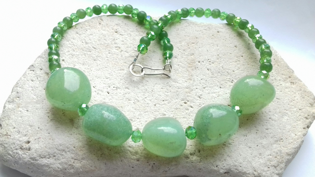 Chalcedony and Aventurine Necklace