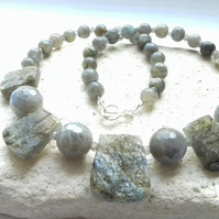Labradorite Gemstone Necklace with Handmade Sterling Silver Clasp