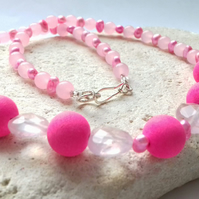 Rose Quartz, Freshwater Pearl and Lavastone Gemstone Necklace