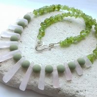 Peridot and Rose Quartz Necklace