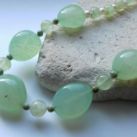 Chalcedony, Freshwater Pearl and Prehnite Necklace