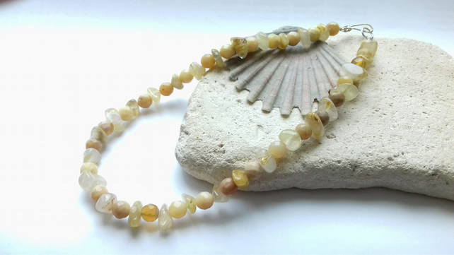 Yellow Opal and Rutilated Quartz Necklace