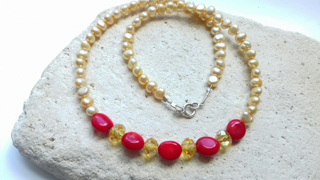 Pearl, Coral and Czech Crystal Gemstone Necklace
