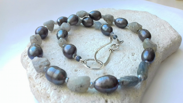 Raw Sapphire, Freshwater Pearl and Labradorite Gemstone Necklace