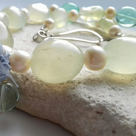 Chalcedony, Fluorite and Freshwater Pearl Necklace