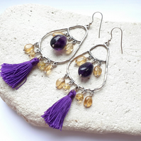 Amethyst & Citrine Chandelier Earrings