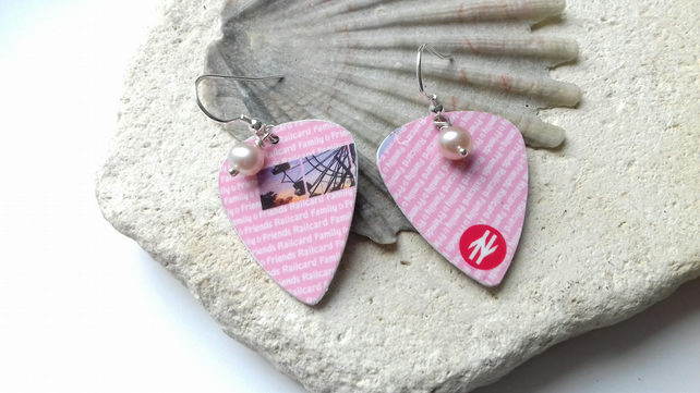 Recycled Rail Card Plectrum Silver Hook Earrings