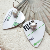 Recycled Shop Card Plectrum Silver Hook Earrings