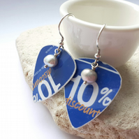 Recycled Blue Plectrum Hook Earrings