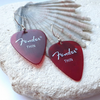Red Guitar Plectrum Dangle Earrings
