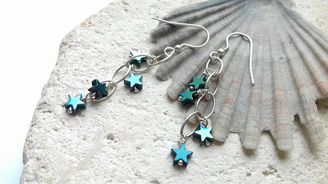 Green Electroplated Hematite Stars and Sterling Silver Dangle Earrings