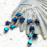 Blue Electroplated Hematite Stars and Squares Dangle Earrings