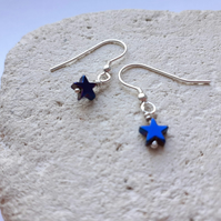 Blue Electroplated Hematite Star Earrings with Sterling Silver Hooks