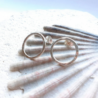 Textured Sterling Silver Circle Studs.