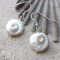 White Freshwater Coin Blister Pearl Earrings with Sterling Silver Hooks