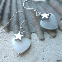 Mother of Pearl heart and Hematite Stars Sterling Silver Hook Earrings
