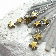 Gold Coloured Hematite Star and Sterling Silver Waterfall Earrings