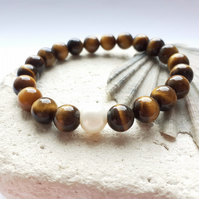 Tiger's Eye Semi-Precious Elastic Bracelet with Fresh Water Pearl Accent