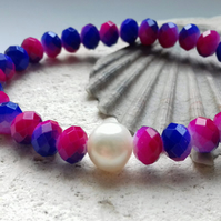 Pink and Blue Czech Crystal with a Freshwater Pearl Accent Elastic Bracelet