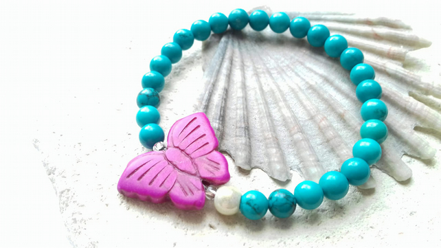 Turquoise and Dyed Howlite Butterfly Elastic Bracelet