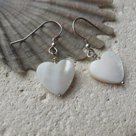 Mother of Pearl Hearts and clear Glass bead accent with Sterling Silver Hooks