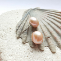 Dusky Pink Freshwater Pearl Sterling Silver Stud Earrings