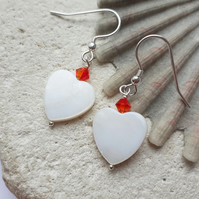 Mother of Pearl Heart earrings with Red Swarovski Crystals